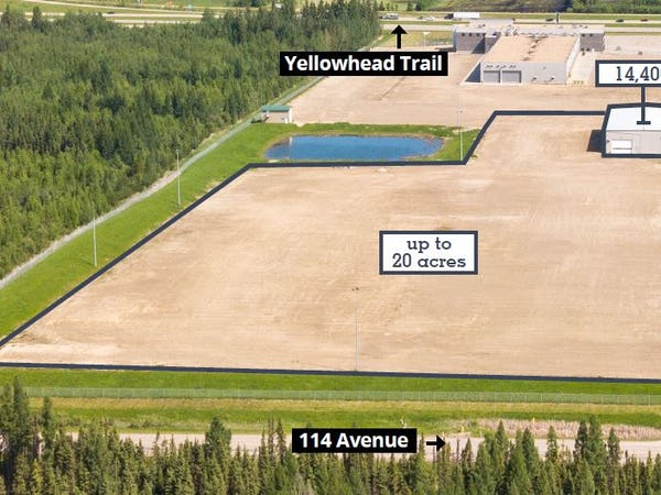 14,400 sf building on up to 20 acres for lease in Acheson